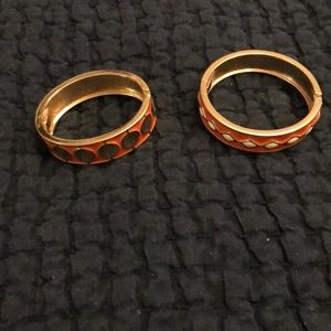 Jewelry - Two orange and gold enamel bang bracelets